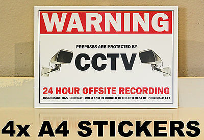 "4 X ""A4"" CCTV Stickers Decal sign security surveillance warning notice camera"