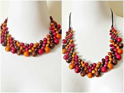 2 Style ORBIT Women Bib Wooden Beaded Long Vintage Necklace Red Mix HOT Fashion