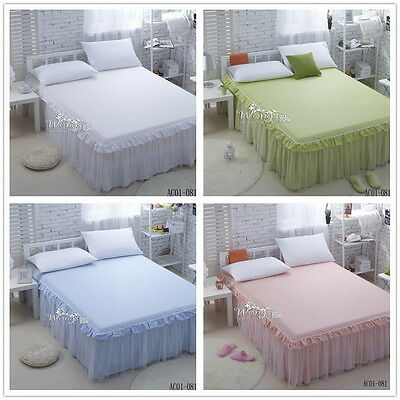 New 100% Cotton King/Queen/Double Size Pleated Valance Solid Bed Skirt Frilly