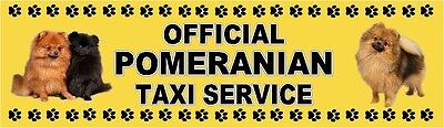 POMERANIAN OFFICIAL TAXI SERVICE Dog Car Sticker  By Starprint