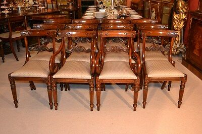 Set 12 Regency Style Mahogany Dining Chairs Bar Back
