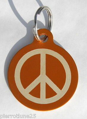 MEDAILLE gravée ORANGE peace and love CHIEN collier gravure offerte