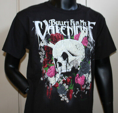 New BULLET FOR MY VALENTINE SKULL & ROSE Hanes ADULT TEE SHIRT T-Shirt Black L