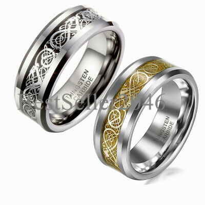 Men Tungsten Carbide Ring Wedding Band 8mm Silver Celtic Dragon Inlay Polish