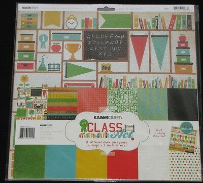 "Kaisercraft 'CLASS ACT' 12x12"" Paper Pk + Stickers School KAISER *SPECIAL PRICE*"
