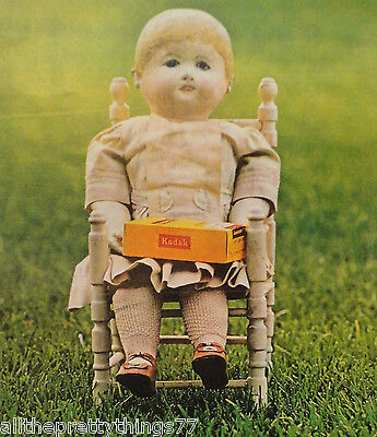 Antique DOLL on Child Chair KODAK Vintage Ad 1970  MATTED Picture Print