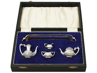 Sterling Silver Miniature 4 Piece Tea & Coffee Service & Tray - Queen Anne Style