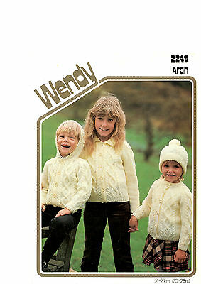childrens jackets and hat aran knitting pattern 99p