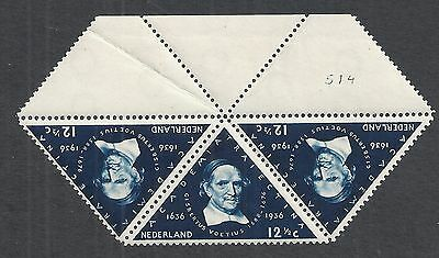 Netherlands 1936 NVPH Plate Error 288P Marginstrip of 3  MNH  F/VF
