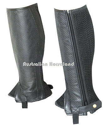 Black Genuine Leather with Mesh Gaiters - Kids