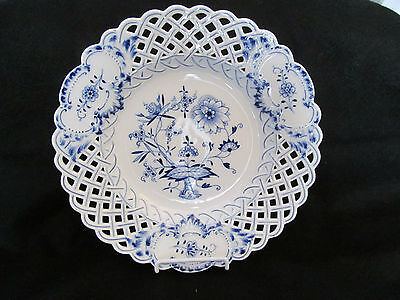 Meissen ~ HP  Blue Onion ~ Reticulated Serving Bowl ~ Cobalt Blue Porcelain