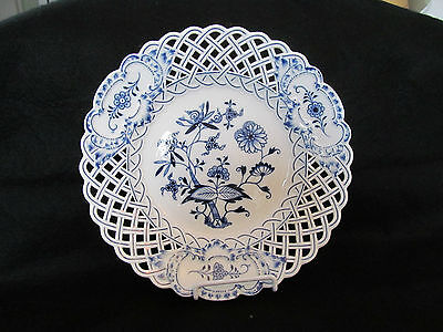 Meissen ~  HP Blue Onion  ~ Cobalt Blue ~ Reticulated  Porcelain ~ Serving Bowl