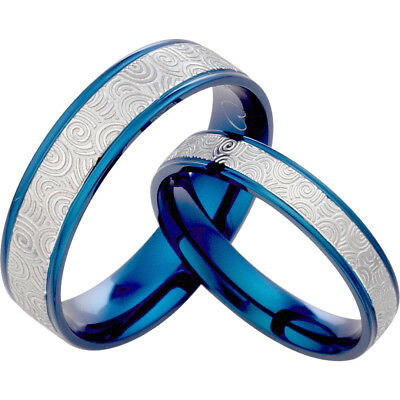 His and  Her Blue Titanium Wedding Rings 083A3