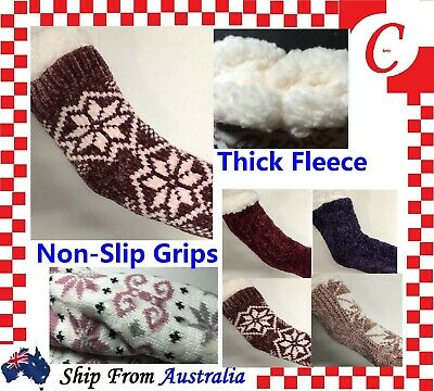 Men Women Thick Winter Non-slip Fluffy LOUNGE BED SLIPPER SNUGGLE Home SOCKS