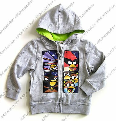 H&M angry birds space long sleeve grey cotton fleece hooded zip up jacket