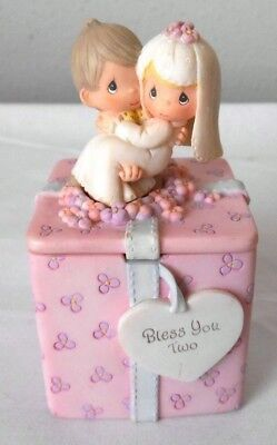 """1999 Enesco Pink  Wedding Gift Trinket Box 2"""" Cube Bless You Two"""