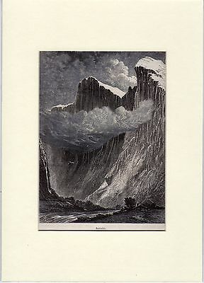 Antique matted print : Romsdal Romsdalsfjord Norway 1885