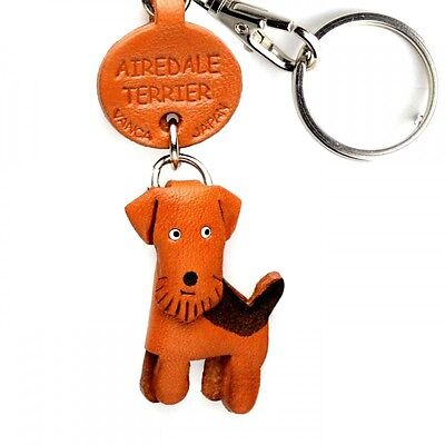 Airedale Terrier Handmade 3D Leather Dog Keychain *VANCA* Made in Japan #56702