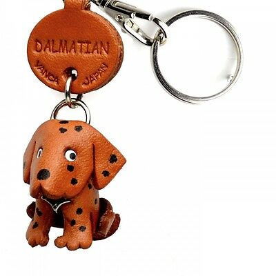 Dalmatian Handmade 3D Leather Dog Key chain/ring/fob *VANCA* Made in Japan#56725