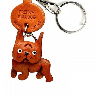 French Bulldog Handmade 3D Leather Dog Keychain *VANCA* Made in Japan #56728