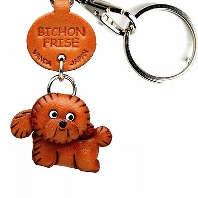 Bichon Frise Handmade 3D Leather Dog Key chain/ring *VANCA* Made in Japan #56707