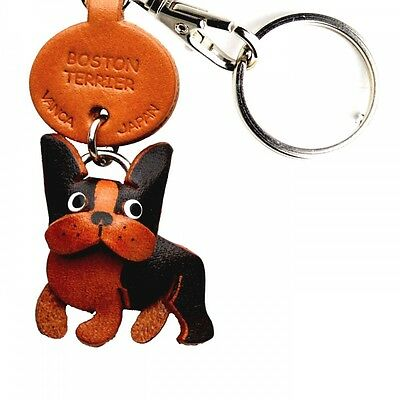 Boston Terrier Handmade 3D Leather Dog Keychain *VANCA* Made in Japan #56710