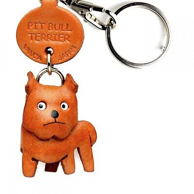 Pit Bull Handmade 3D Leather Dog Keychain *VANCA* Keyring Made in Japan #56784