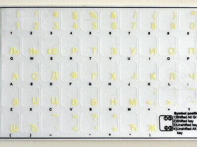 High Quality SERBIAN TRANSPARENT Keyboard Stickers Yellow Letters Fast Postage
