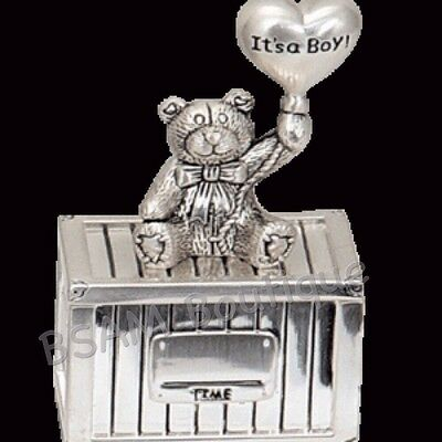 It's A Boy- Bear With Balloon Trinket Box, Baby Keepsake