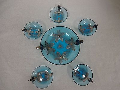 20% OFF! 6 PC- Antique blue glass with hand painted silver design berry bowl set