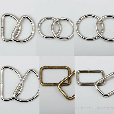 """50x 7/8""""-1.5"""" Metal Dee D Ring O Ring Square Ring Webbing Buckles Strapping Belt"""