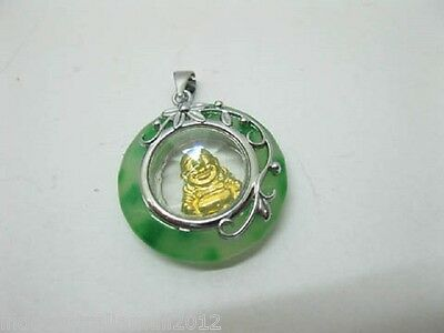 12 x Bulk Chinese  Rotating Golden Buddha Green Jade Gemstone Pendants (PD-J7)