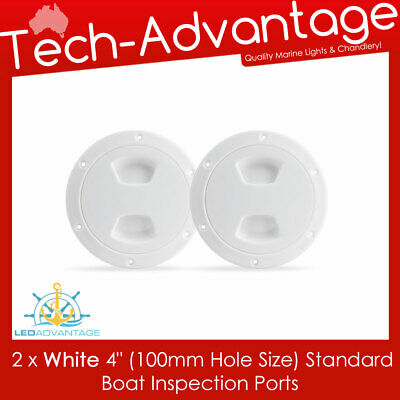 "2 X White 4"" Boat Marine Economical Inspection Water Oil Petrol Gauge View Ports"