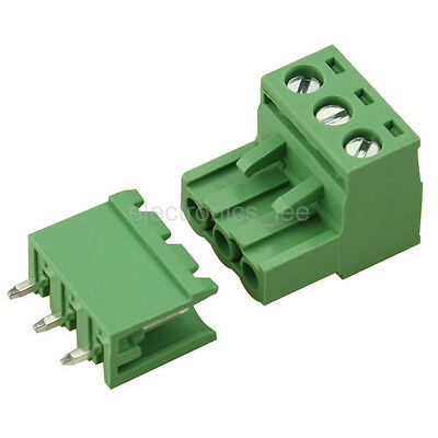 10sets 2EDG 3Pin Plug-in Screw Terminal Block Connector 5.08mm Pitch Straight