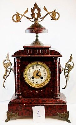 XIXs ANTIQUE FRENCH NAPOLEON III CLOCK MANTLE BRONZE & MARBLE SOLID WEIGHTER