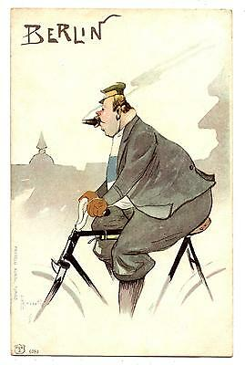 CYCLISME.CYCLE.BICYCLE.VELO.VéLO.CARICATURE.SIGNED ROSSETTI.BERLIN.CIGAR SMOKER.