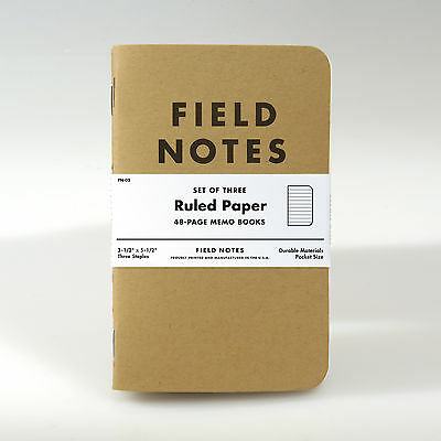Field Notes Brand: Kraft Ruled Paper Memo Books, 3 Pack