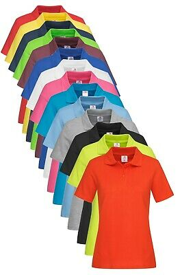 Stedman Womens Womans Ladies Plain Cotton Basic Short Sleeve Polo Shirt