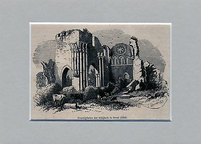 Antique matted print :ruins Orval abbey /Abbaye Notre-Dame d'Orval 1882