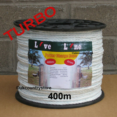 White Electric Fencing Power-Charge Rope 400m