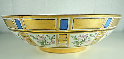 "Belleek Willets Round Bowl 8 3/4"" Gold Blue and Flowers"