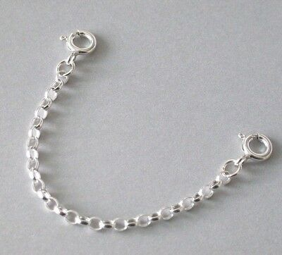 """925 Sterling Silver Extender Safety Belcher Chain 2 x Bolt Rings 1""""- 8"""" inch"""