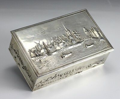 Dutch Silver Box. Markers mark VS. Features raised details of cityscape, country