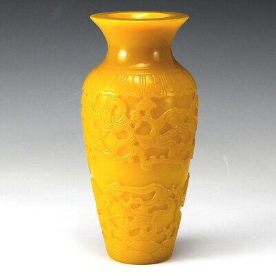 Imperial Yellow Signed Peking Glass Vase  c1900  Dragon motif deeply handcarved