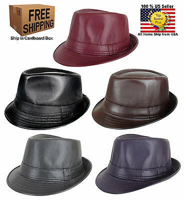 b97cbba448c Men Women Faux Leather Fedora Trilby Cuban Style Upturn Short Brim Cap Hat