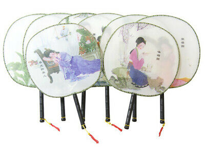 Bulk Lot x 24 Chinese Traditional  Silk Hand Round Fan Wedding Party Gift