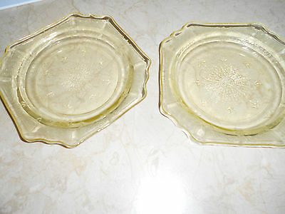 """Anchor Hocking Princess Amber Yellow Bread/Butter Plate 5 5/8"""" W"""