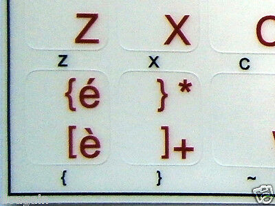 High Quality ITALIAN TRANSPARENT Keyboard Stickers RED Letters Fast Free Postage