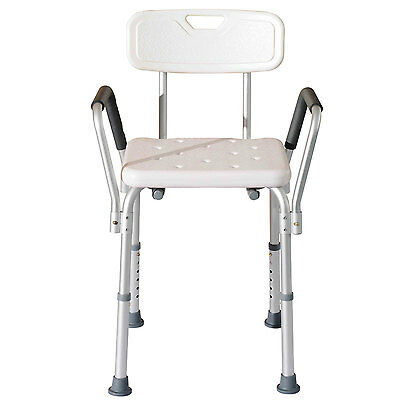 Adjustable Medical Bath Bench Bathtub Shower Chair Seat With Back & Padded Arms
