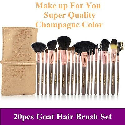 New Pro 20pcs super quality goat hair champagne makeup brushes set with pouch